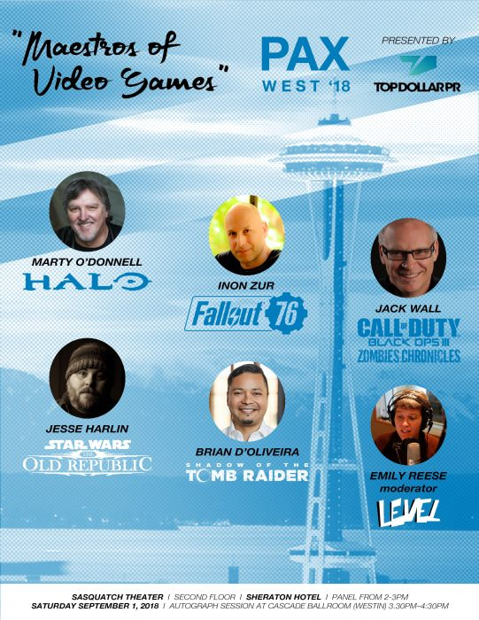 PAX WEST 2018: MAESTROS OF VIDEO GAMES COMPOSER PANEL ANNOUNCED