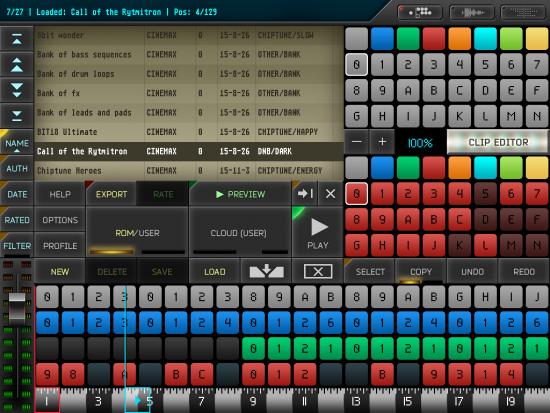 A screenshot of the main screen of Rytmik Ultimate