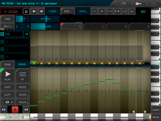 A screenshot of the clip editor screen in Rytmik Ultimate