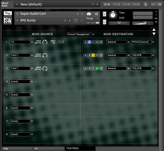 Audio Cart Mod Matrix