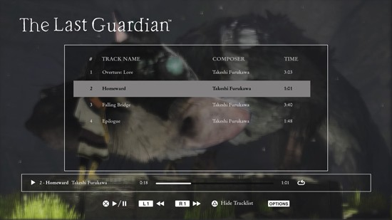 The main interface with tracklist and progress bar