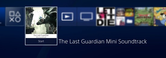 The Last Guardian soundtrack apps sit on the PlayStation 4 Home Screen like any other game